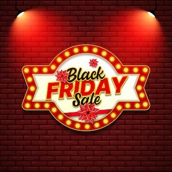 Czarny piątek sprzedaż szablon transparent w stylu retro znak