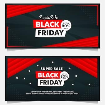 Czarny piątek sprzedaż szablon transparent z czarnym czerwonym stylu gradientu