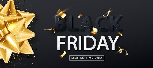 Czarny piątek sprzedaż szablon transparent ze złotą kokardą. sprzedam promo plakat poziomy. tło wektor.