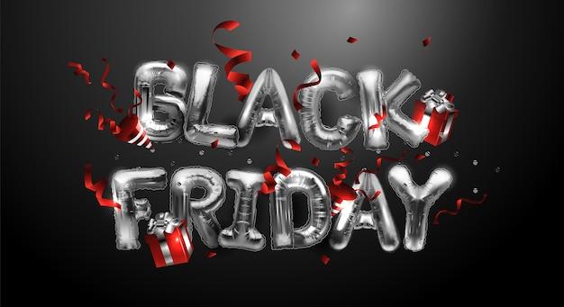 Czarny piątek sprzedaż tło z metalowymi balonami, serpentyny, prezenty na ciemnym tle. błyszczące srebrne litery. nowoczesny design.