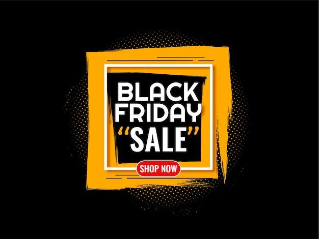 Czarny piątek sprzedaż tło z żółtą ramką obrysu pędzla