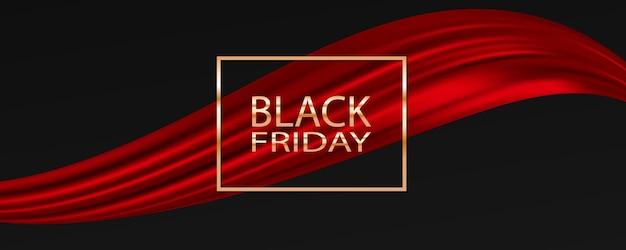 Czarny piątek sprzedaż tło ze wstążką