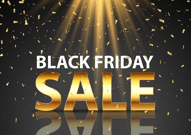 Czarny piątek sprzedaż tło ze złotym napisem pod reflektorami i złotym konfetti