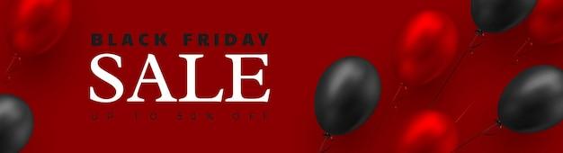 Czarny piątek sprzedaż transparent. 3d czerwone i czarne realistyczne błyszczące balony. czerwone tło. ilustracja wektorowa.