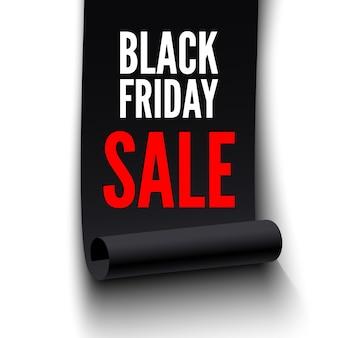 Czarny piątek sprzedaż transparent. czarna wstążka na białym tle.