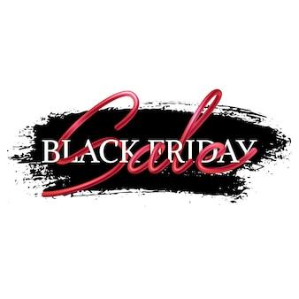 Czarny piątek sprzedaż transparent, projekt z tekstem kaligrafii z przeplotem, realistyczne połączenie