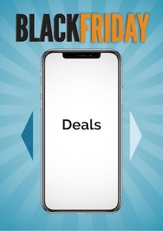 Czarny piątek sprzedaż transparent. realistyczny wektor inteligentny telefon z miejscem na twoje zdjęcia na tle niebieskiego promienia z napisem black friday. szablon opowieści w mediach społecznościowych do promocji i reklamy