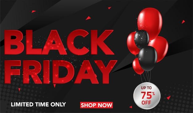 Czarny piątek sprzedaż transparent tło z czerwonymi i czarnymi balonami i conffeti