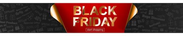 Czarny piątek sprzedaż transparent w kolorach czerwonym, czarnym i złotym. napis na ciemnym tle. zwinięte rogi papieru. ilustracja wektorowa na plakaty, ulotki, karty