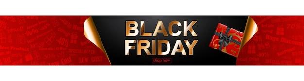 Czarny piątek sprzedaż transparent w kolorach czerwonym, czarnym i złotym. pudełko napis i prezent na ciemnym tle. zwinięte rogi papieru. ilustracja wektorowa na plakaty, ulotki, karty