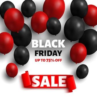 Czarny piątek sprzedaż transparent z balonami i czerwoną wstążką.