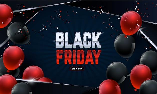 Czarny piątek sprzedaż transparent z balonami i konfetti