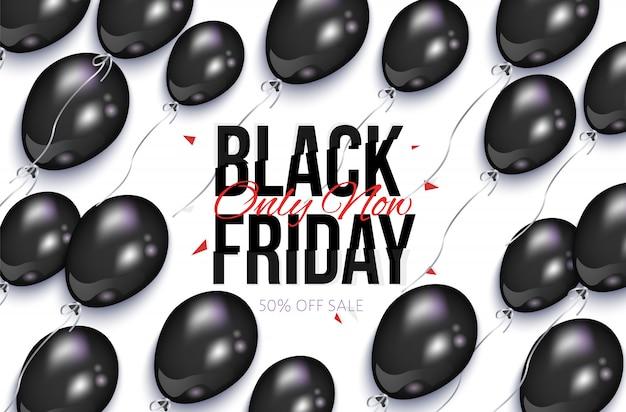 Czarny piątek sprzedaż transparent z balonami