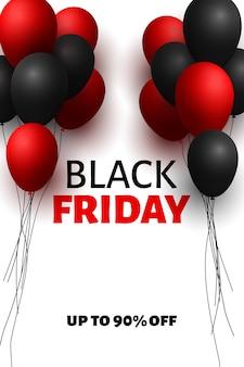 Czarny piątek sprzedaż transparent z balonów.