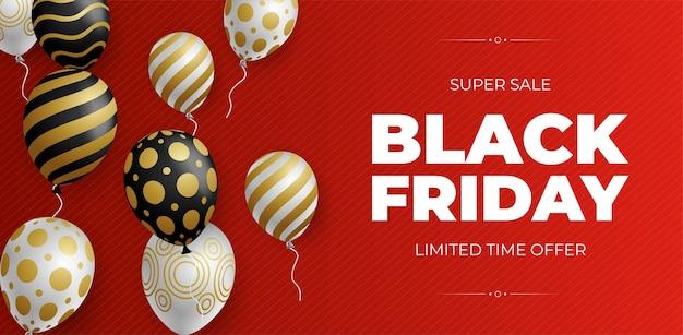 Czarny piątek sprzedaż transparent z błyszczącymi balonami