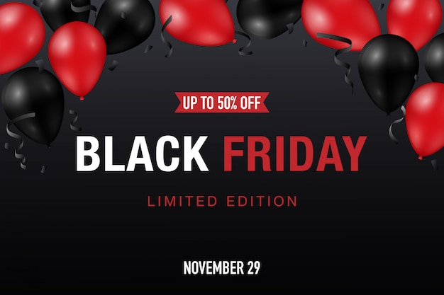 Czarny piątek sprzedaż transparent z błyszczącymi czerwonymi i czarnymi balonami