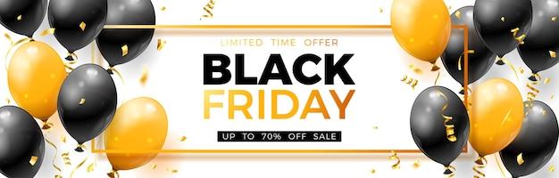 Czarny piątek sprzedaż transparent z błyszczącymi złotymi i czarnymi balonami, konfetti i ramką.