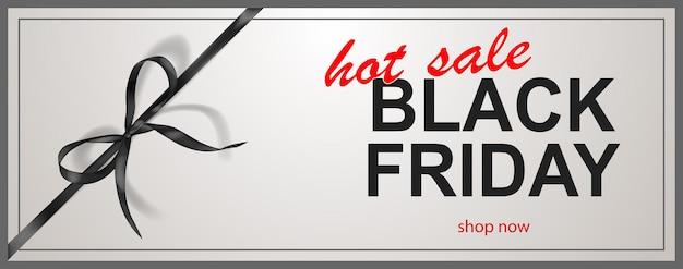 Czarny piątek sprzedaż transparent z ciemną kokardą i wstążkami na białym tle. ilustracja wektorowa na plakaty, ulotki lub karty.