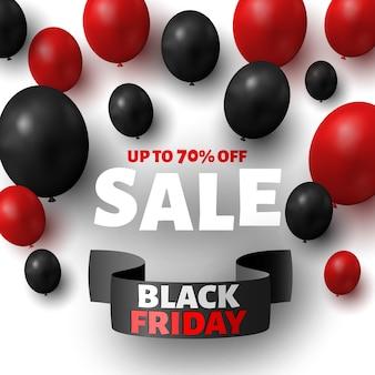 Czarny piątek sprzedaż transparent z czarnymi i czerwonymi balonami.