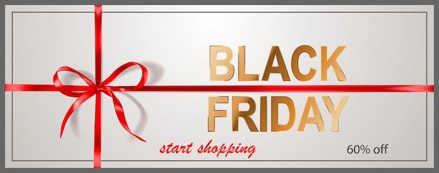 Czarny piątek sprzedaż transparent z czerwoną kokardą i wstążkami na białym tle. ilustracja wektorowa na plakaty, ulotki lub karty.