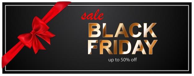 Czarny piątek sprzedaż transparent z czerwoną kokardą i wstążkami na ciemnym tle. ilustracja wektorowa na plakaty, ulotki lub karty.