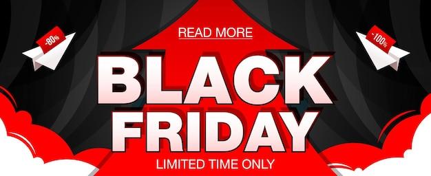 Czarny piątek sprzedaż transparent z czerwoną strzałką i papierowymi samolotami. czarny piątek baner internetowy. ilustracja wektorowa
