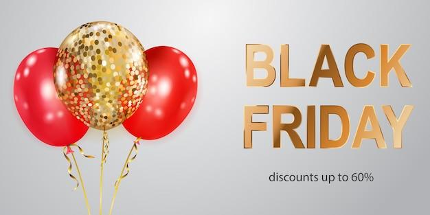 Czarny piątek sprzedaż transparent z czerwonymi i złotymi balonami na białym tle. ilustracja wektorowa na plakaty, ulotki lub karty.