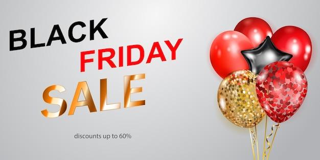 Czarny piątek sprzedaż transparent z czerwonymi, złotymi i srebrnymi balonami na białym tle. ilustracja wektorowa na plakaty, ulotki lub karty.