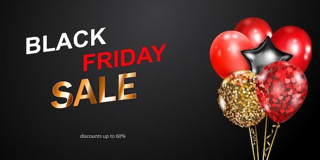 Czarny piątek sprzedaż transparent z czerwonymi, złotymi i srebrnymi balonami na ciemnym tle. ilustracja wektorowa na plakaty, ulotki lub karty.