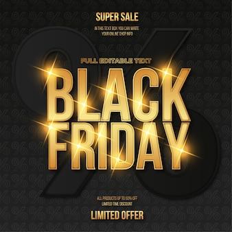 Czarny piątek sprzedaż transparent z efektem tekstowym złota