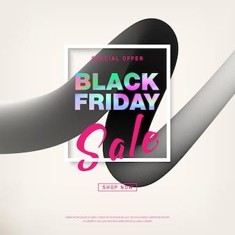 Czarny piątek sprzedaż transparent z holograficznym tekstem