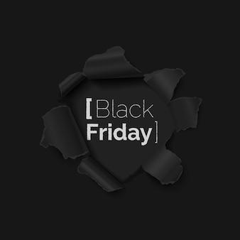 Czarny piątek sprzedaż transparent z otworem w czarnym papierze realistyczne ilustracji wektorowych.