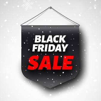 Czarny piątek sprzedaż transparent z płatki śniegu.