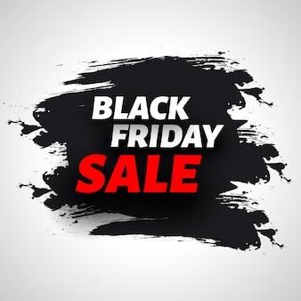 Czarny piątek sprzedaż transparent z pociągnięciami pędzla
