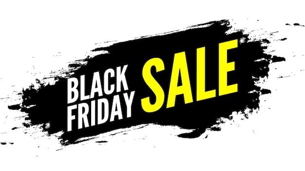 Czarny piątek sprzedaż transparent z pociągnięciami pędzla.