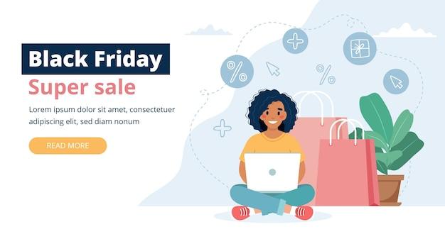 Czarny piątek sprzedaż transparent z postacią kobiety, koncepcja zakupów online.