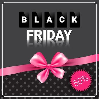 Czarny piątek sprzedaż transparent z rabatem na zakupy z różową wstążką