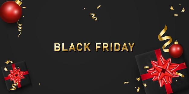 Czarny piątek sprzedaż transparent z realistycznymi pudełkami na prezenty i złotym konfetti