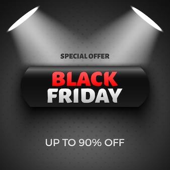 Czarny piątek sprzedaż transparent z reflektorami.