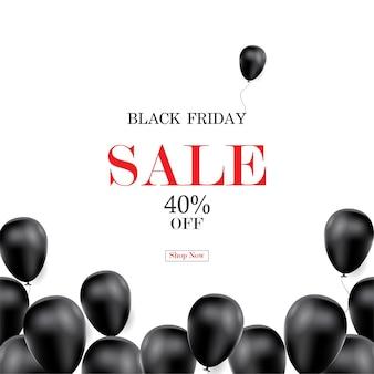 Czarny piątek sprzedaż transparent z tłem balonu.