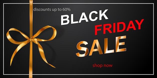 Czarny piątek sprzedaż transparent z złotą kokardą i wstążkami na ciemnym tle. ilustracja wektorowa na plakaty, ulotki lub karty.