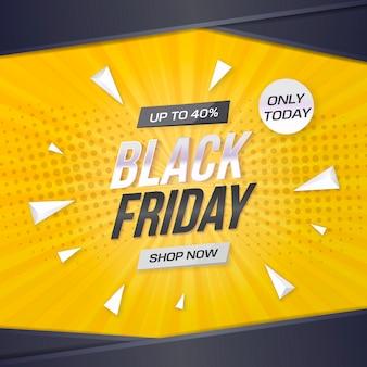Czarny piątek sprzedaż transparent z żółtym tle
