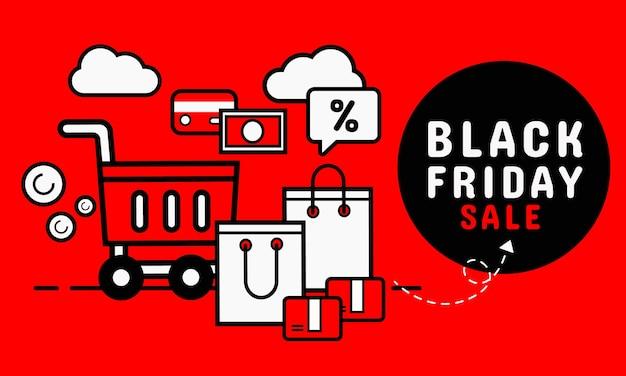 Czarny piątek sprzedaż transparent. zakupy online