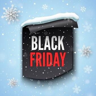 Czarny piątek sprzedaż transparent ze wstążką, czapką śnieżną i płatkami śniegu.