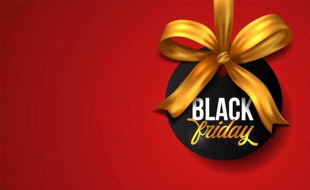 Czarny piątek sprzedaż transparent ze złotą wstążką