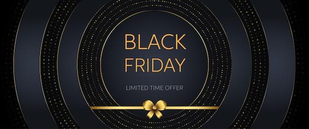 Czarny piątek sprzedaż transparent ze złotym brokatem