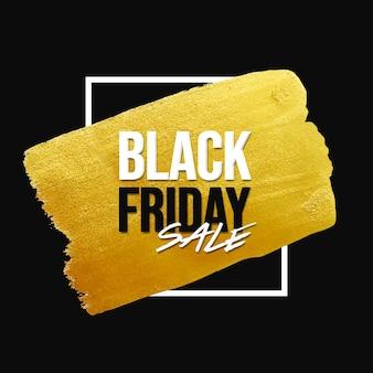Czarny piątek sprzedaż transparent ze złotym pociągnięciem pędzla i białą ramką