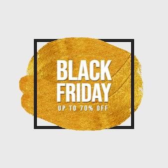 Czarny piątek sprzedaż transparent ze złotym pociągnięciem pędzla i czarną ramką