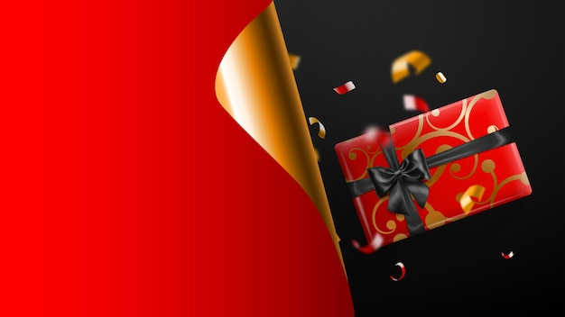 Czarny piątek sprzedaż transparent. złoty zawinięty róg papieru i miejsce na napis. pudełko prezentowe, rozmazane czerwone i żółte kawałki serpentyny na ciemnym tle. ilustracja wektorowa na plakaty, ulotki, karty