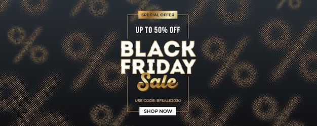 Czarny piątek sprzedaż typu projekt na tle z złote znaki procentu półtonów.